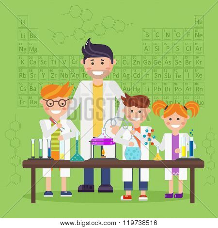Cartoon chemistry concept with chemistry man. Chemistry laboratory. Chemistry test. Chemistry experiment. Children are studying and working in chemistry lab. Isolated chemistry. Chemistry fun. Chemistry concept. Chemistry lesson. Medical test.