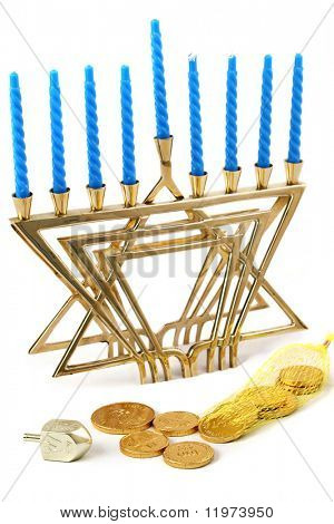 Hanukkah menorah, dreidel & gelt. Isolated