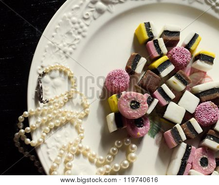 Licorice Candy on a Plate