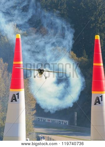 SPIELBERG, AUSTRIA - OCTOBER 25, 2014: Michael Goulian (USA) competes in the Red Bull Air Race.