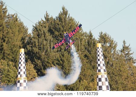 SPIELBERG, AUSTRIA - OCTOBER 25, 2014: Kirby Chambliss (USA) competes in the Red Bull Air Race.