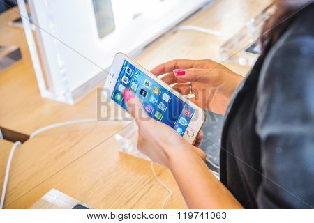 Woman Testing New Iphone 6 Plus