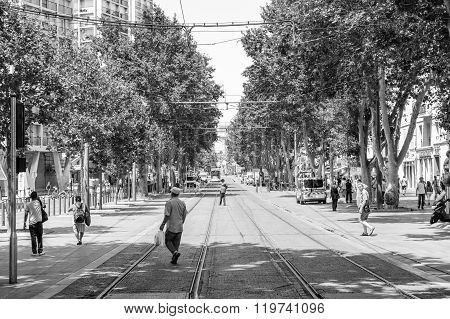 Black And White Image Of Cours Belsunce Marseille, France