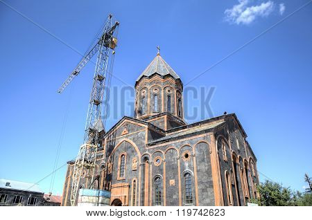 Church of the Holy Saviour being reconstructed after the 1988 earthquake. Gyumri, Armenia