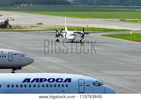 Pskov Avia Antonov An-24-rv Aircraft  In Pulkovo International Airport In Saint-petersburg, Russia