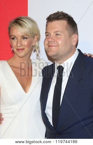 LOS ANGELES - FEB 26:  James Corden and wife at the The Film is GREAT Reception Honoring British 2016 Oscar Nominees at the Fig and Olive on February 26, 2016 in West Hollywood, CA