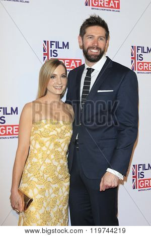 LOS ANGELES - FEB 26:  Joanne Froggatt, James Cannon at the The Film is GREAT Reception Honoring British 2016 Oscar Nominees at the Fig and Olive on February 26, 2016 in West Hollywood, CA