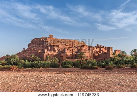 Ait Benhaddou Kasbah in morning, Morocco.