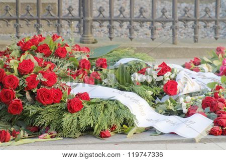 Lots Of Roses On The Grave Of The Murdered Prime Minister Olof Palme