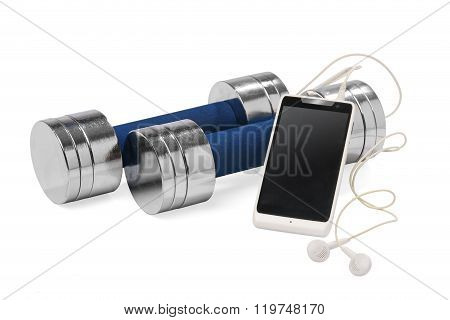A pair of dumbbells and a smartphone