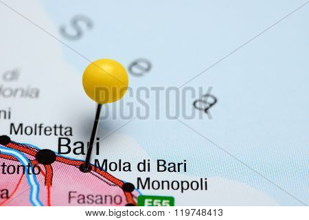 Mola di Bari pinned on a map of Italy