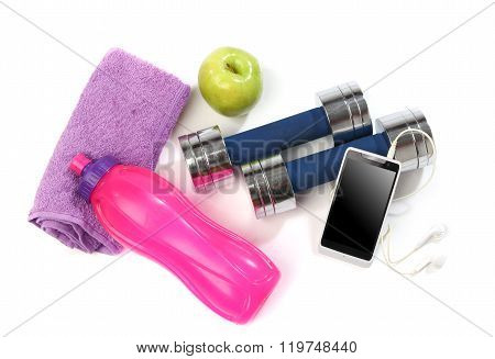 Fitness concept with a bottle of water