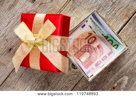 Open Giftbox With  Euro Currency