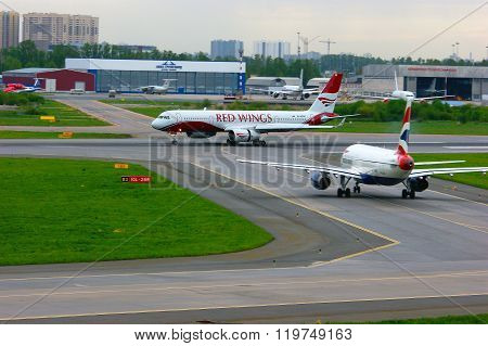 Red Wings Airlines Tupolev Tu-204-100 Aircraft In Pulkovo International Airport In Saint-petersburg