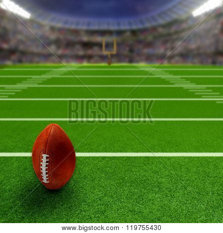 Football Stadium With Football And Copy Space