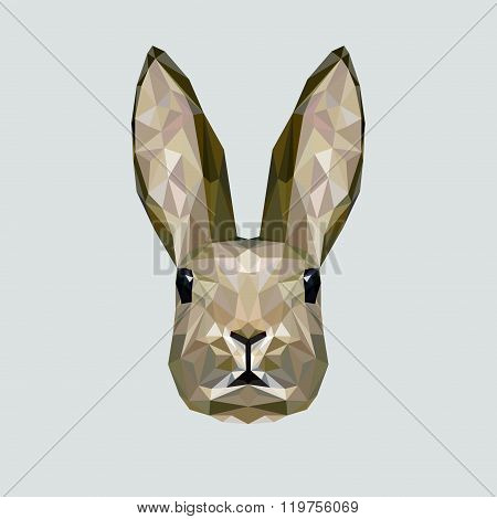 Vector portrait of rabbit polygonal style. Triangle illustration of animal for use as a print on t-s