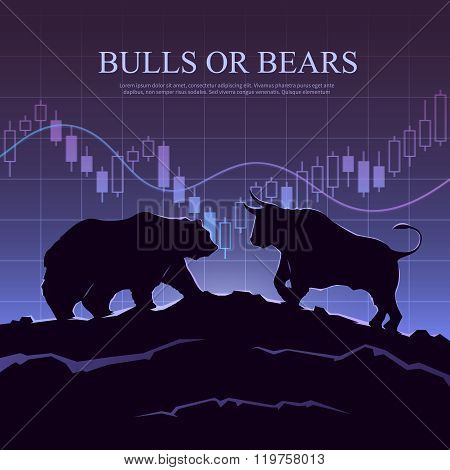 Trading illustration. The bulls and bears.
