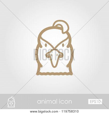Quail Outline Thin Icon. Animal Head Vector Symbol