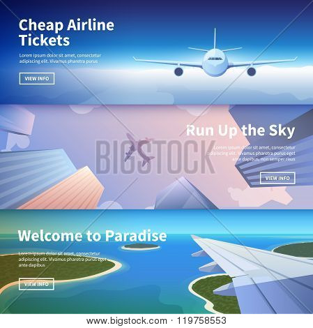 Web banner on the theme of travel by airplane