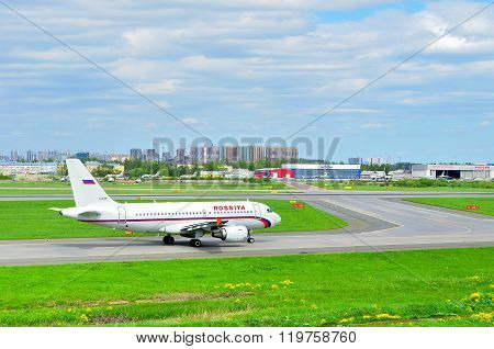 Rossiya Airlines Airbus A319-111 Airplane In Pulkovo International Airport In Saint-petersburg, Russ