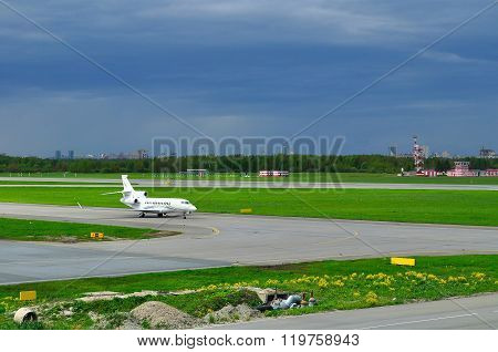 Airfix Aviation Airlines Dassault Falcon 7X Aircraft In Pulkovo International Airport