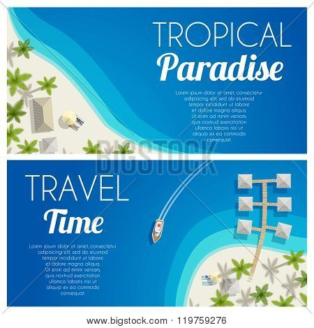 Sunny Summer Beach Horizontal Banners With Palms And Bungalows. Vector Illustration, Eps10.