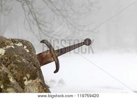 Legendary Excalibur Sword Into The Stone In The Middle Of The Forest