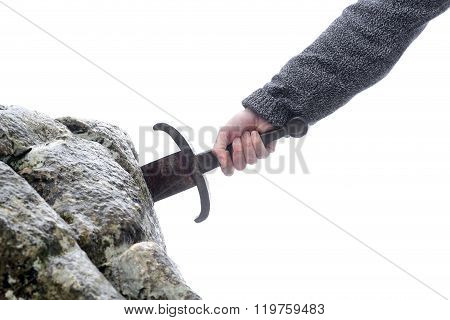 Knight Tries To Remove Excalibur Sword In The Stone