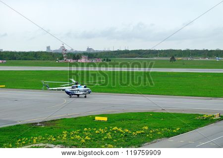 The Mil Mi-8Ps  Helicopter Of Sparc Avia Aviation Company Landing In Pulkovo Airport