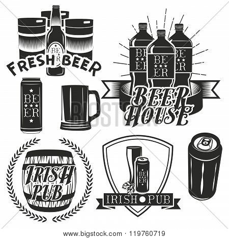 Vector set of brewing labels in vintage style. Pub and craft beer logo. Monochrome color.