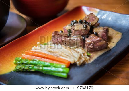 Beef Steak With Pepper Sauce