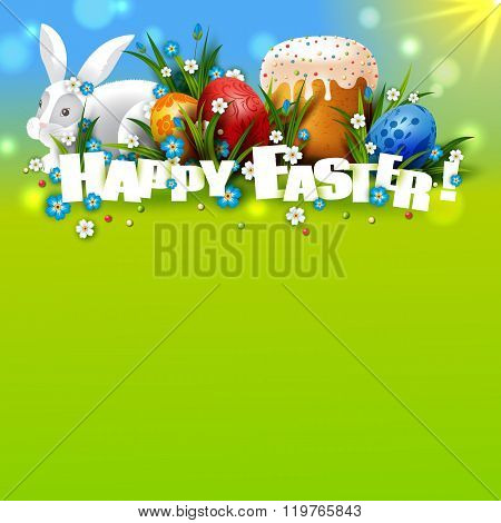 Template with Easter eggs, rabbit and cake