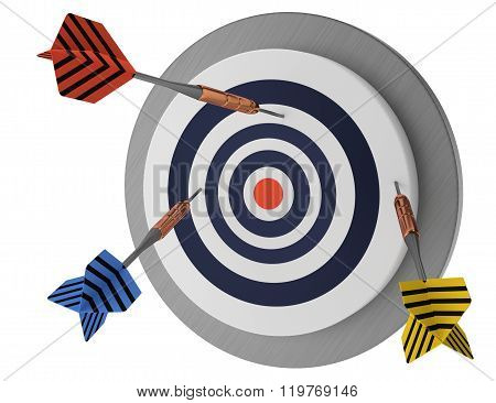 looser,  not lucky target three arrows, marketing hit try, white background 3D illustration, without success