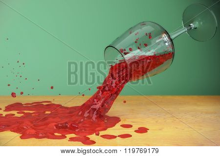 wine splash flow motion glass dripping stain on table