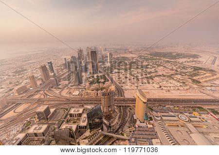 Panorama of night Dubai during sandstorm