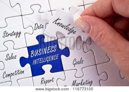 Business Intelligence - female hand with puzzle