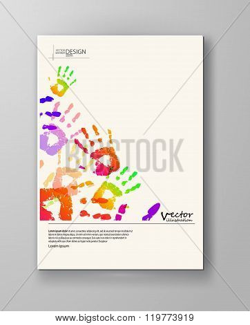 Colorful Hands. Abstract Border Background.