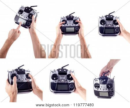 Remote control in hand man