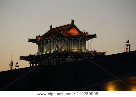 Tower Of The Ancient City Wall Of Xian, China