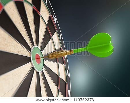 Green Dart Hitting The Target Bull's Eye