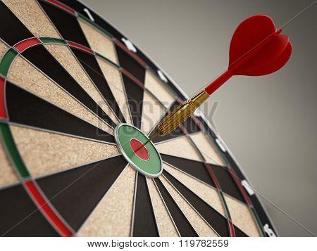 Red Dart Hitting The Target Bull's Eye