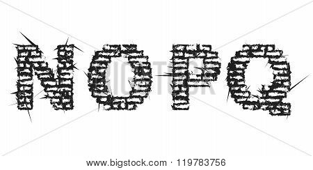 High Detailed Black Empty Decorative Aggressive Brick Styled Vintage Font. Letters N, O, P, Q. Vecto