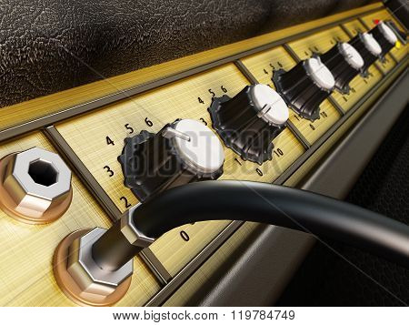 Generic amplifier design detail with a plugged cable