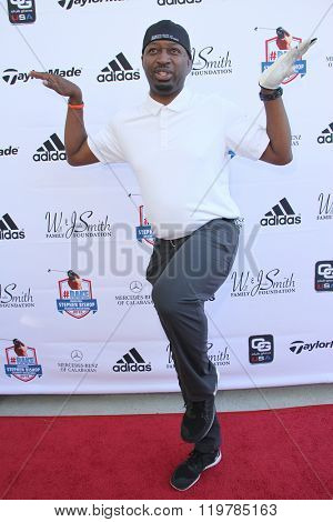 Ricky Smith arrives at the inaugural Stephen Bishop celebrity golf invitational benefiting R.A.K.E. on Feb. 15, 2016 at Calabasas Country Club in Calabasas, CA.