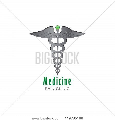 Caduceus Medical Pharmacy business sign vector icon