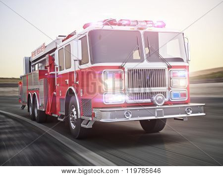 Fire truck running with lights and sirens on a street with motion blur. Photo realistic 3d model sce