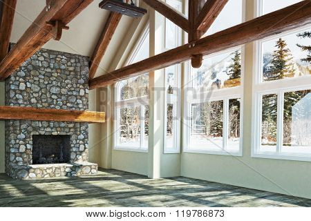 Luxurious open floor empty cabin interior design with fireplace and winter scenic background. Photo