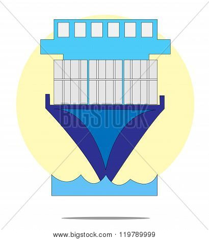 Illustration Of Containership With Yellow Circle Background