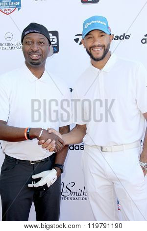 Ricky Smith and Stephen Bishop arrives at the inaugural Stephen Bishop celebrity golf invitational benefiting R.A.K.E. on Feb. 15, 2016 at Calabasas Country Club in Calabasas, CA.
