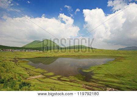 Lake At The Active Volcano - Mount Aso